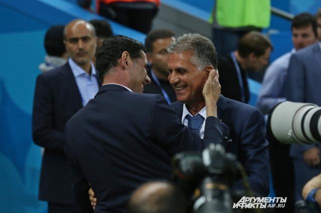 Два главных тренера Фернандо Йерро (Испания) и Карлуш Кейруш (Иран).