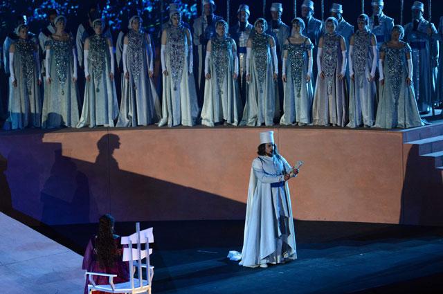 Действие оперы Набукко в римской арене в Avenches, Швейцария