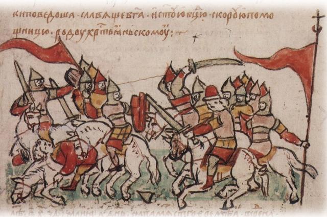 Разгром и пленение остатков половецкого войска полком Владимира Глебовича Переяславского.