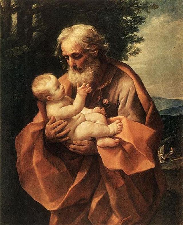 Святой Иосиф с младенцем Иисусом (Гвидо Рени, ок. 1635 года)
