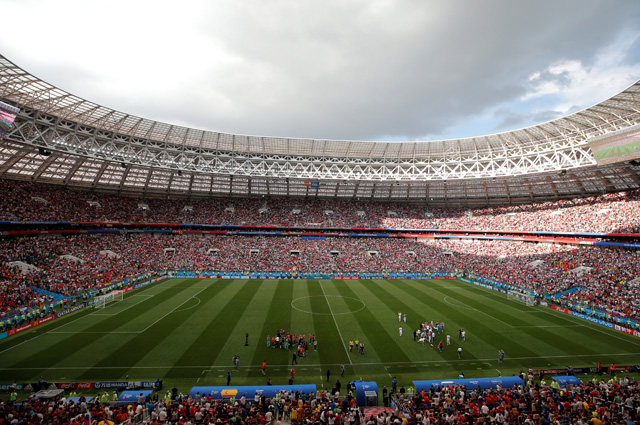 В обновлённых «Лужниках» поле хорошо видно с любого места. Во время перерыва в матче Россия-Испания, 1 июля 2018 г.