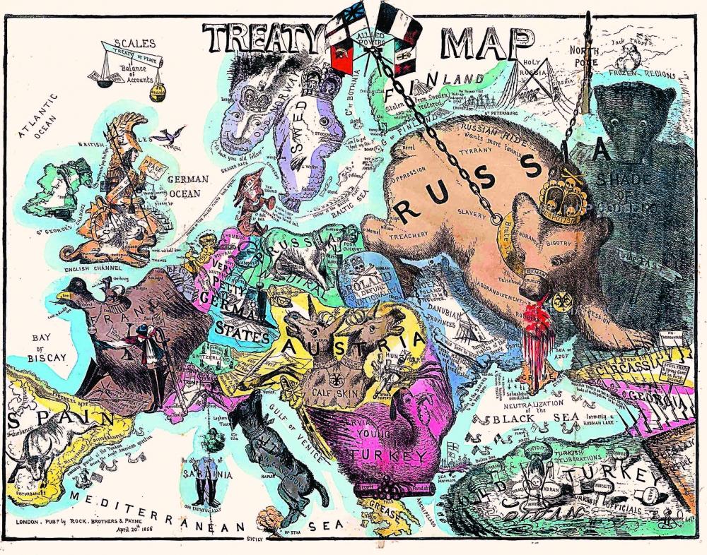 Британская карикатура на Европу после победы в Крымской войне – русского медведя посадили на цепь. Репродукция.