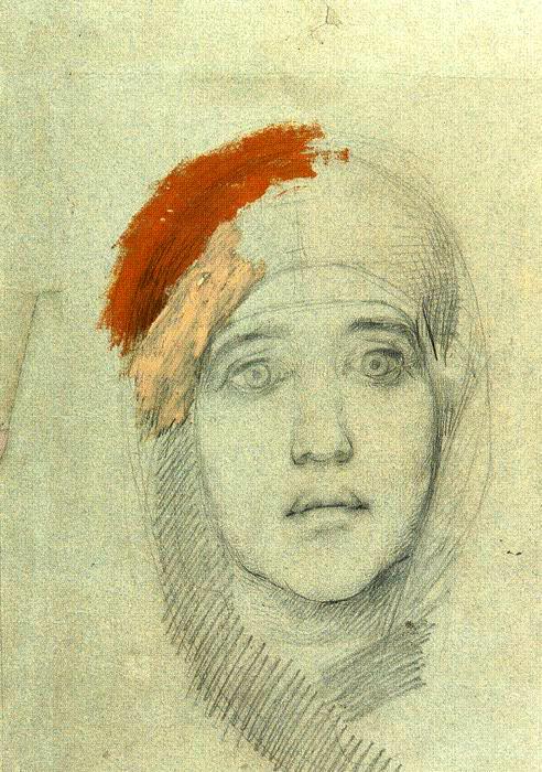 Михаил Врубель, «Голова женщины», итальянский карандаш, 1884 г. Государственная Третьяковская галерея