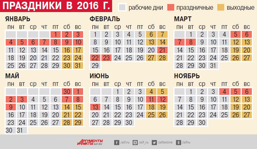 календарь, 2016, праздники, выходные