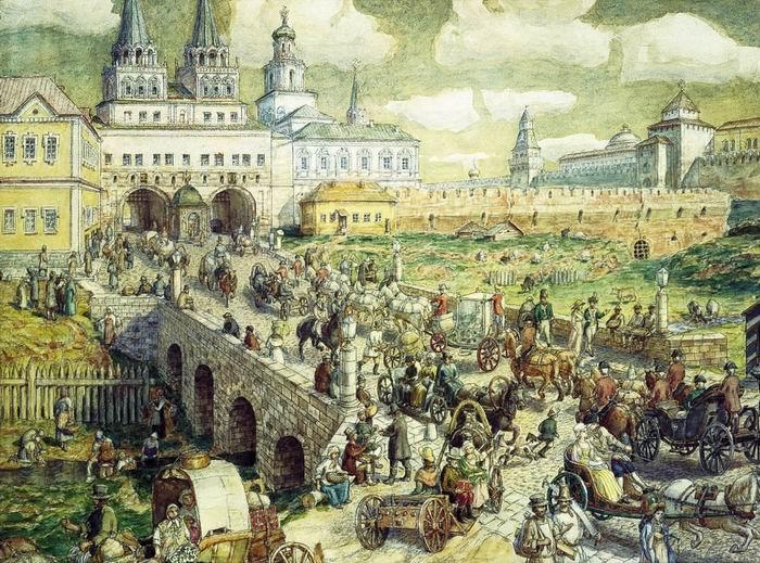 А.М. Васнецов. Уличное движение на Воскресенском мосту в XVIII веке, 1926 г