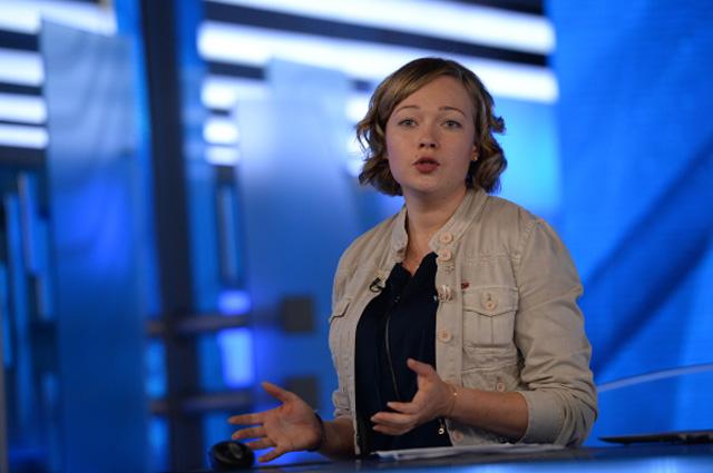 Ирина Скворцова во время обучения в студии ВГТРК, июль 2013 г