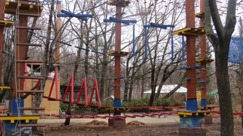 Из-за подвесного парка дубов, посаженных в память о членах семьи Ульяновых, почти не видно.