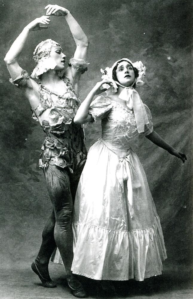 Вацлав Нижинский иТамара Карсавина вбалете М.Фокина «Видение розы», 1911г.