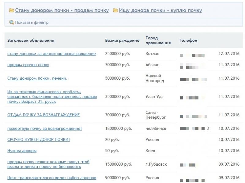В интернете существует множество сайтов по купле и продаже органов.