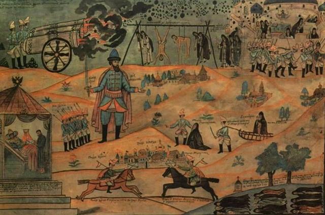 Воевода Мещеринов подавляет Соловецкое восстание. Лубок XIX века