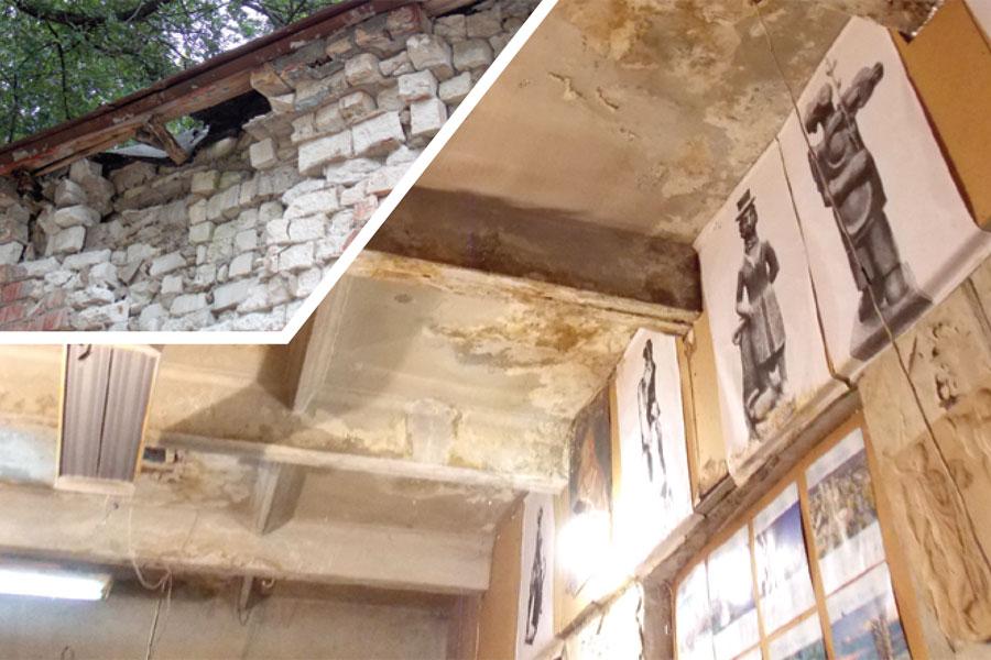 Стены здания разрушаются и снаружи, и внутри.