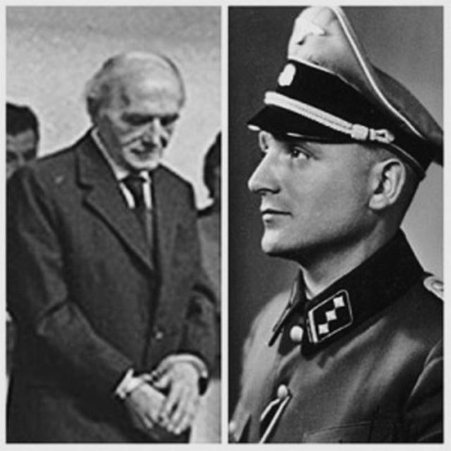 Барби после ареста (слева) и в форме офицера СС.