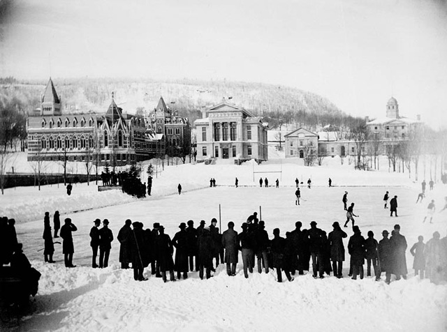 Игра в хоккей в университете Макгилла, Монреаль, Канада, 1884 год