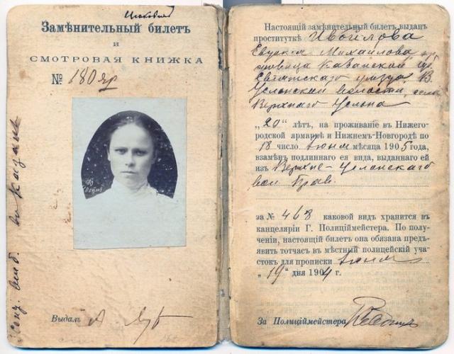 Удостоверение на право работы проституткой на Нижегородской ярмарке на 1904—1905 годы.