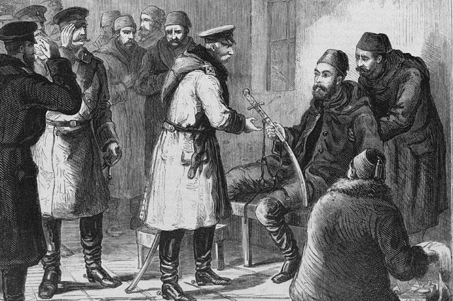 Осман-паша вручает саблю генералу И. В. Ганецкому
