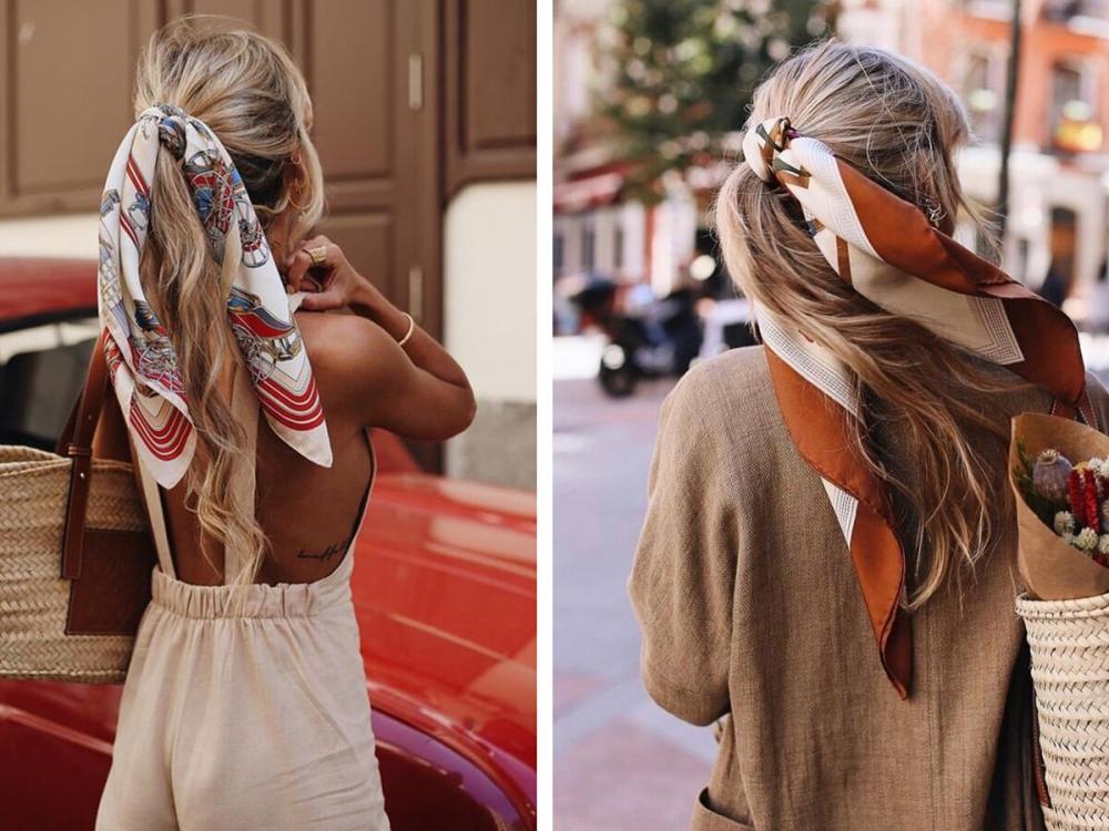 Косичка, переплетенная ярким шарфиком, подходит не только к городским и романтическим нарядам.