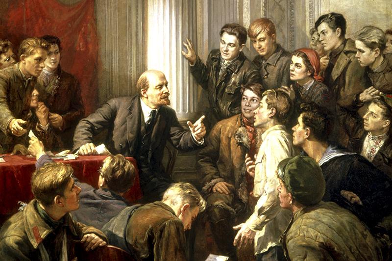 Картина П. П. Белоусова Ленин среди делегатов III съезда РКСМ