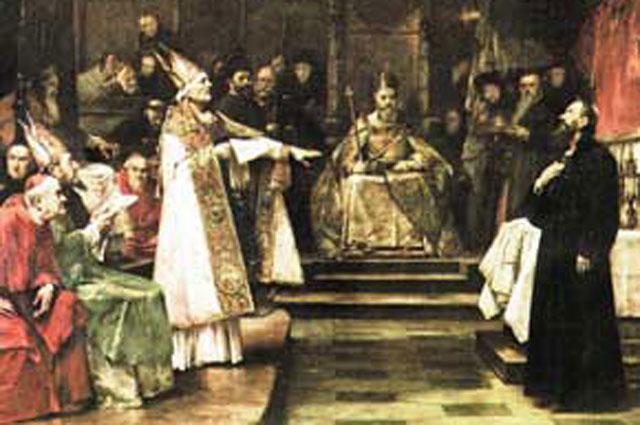 Картина Вацлава Брожика: «Ян Гус на Соборе в Констанце» (1883).