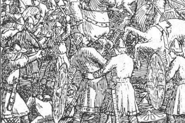 Стрела пронзает горло Харальда в битве при Стэмфорд-Бридже.