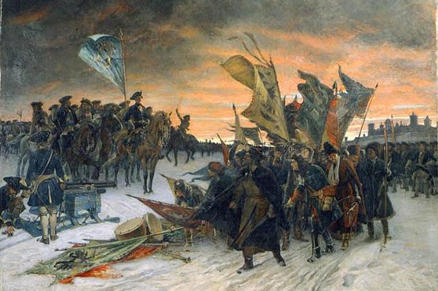 Победа шведов в битве при Нарве. Густав Седерстрём. 1910 год.
