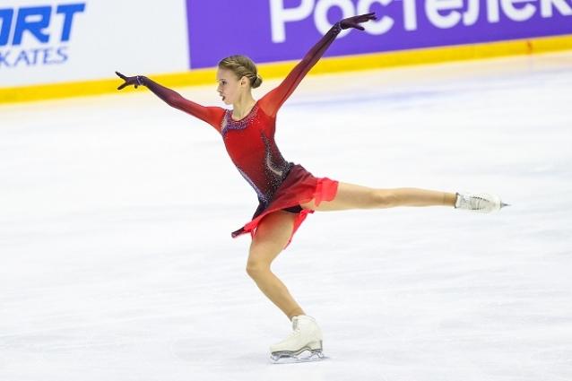 Майя Хромых первой из тройки лидеров вышла на лед в произвольной программе.
