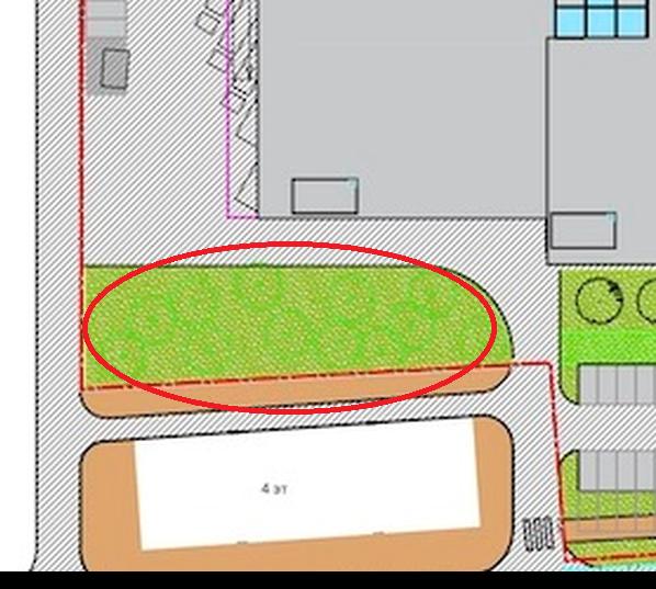 Теперь между домом и ТЦ обозначена широкая зеленая зона.