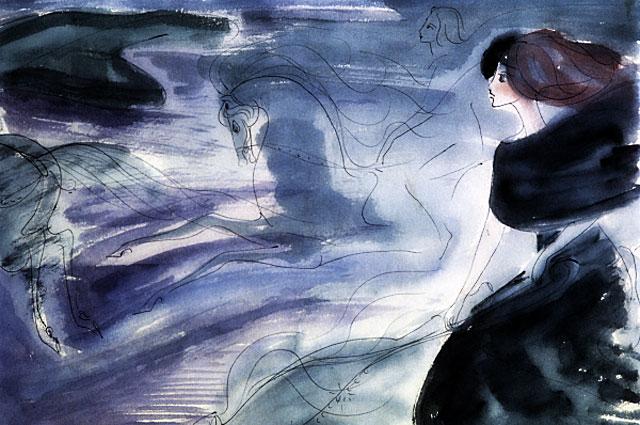Репродукция рисунка Нади Рушевой к последней сцене романа М. Булгакова Мастер и Маргарита . (1968 год. 16 лет)