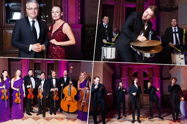 Ведущие вечера Роман Будников и Жанна Эппле, барабанное шоу «Vasiliev Groove», струнный ансамбль «INTERTONE», группа «Пятеро» (на фото по часовой стрелке).