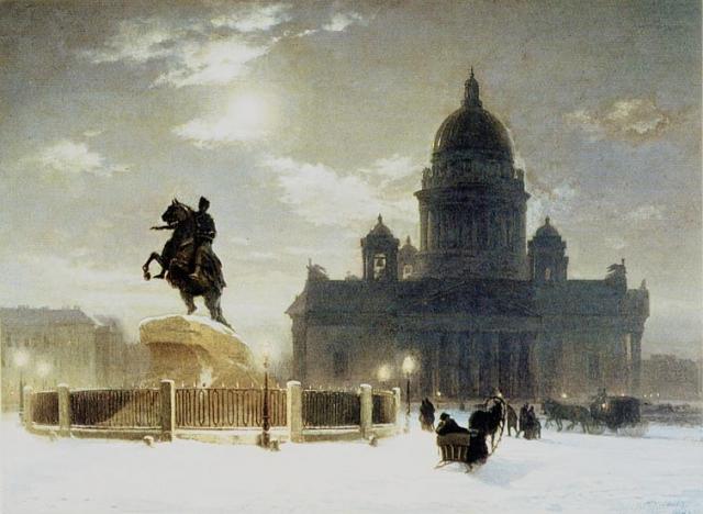 «Вид памятника Петру I» стал его первой самостоятельной работой, написанной вне учебного плана.