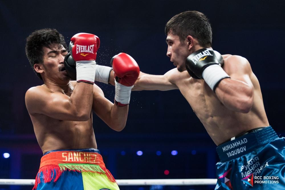 Мухаммадхуча Якубов в рамках легкого веса (до 59 кг ) на первой минуте первой секунде 4 раунда разобрался с филиппинцем Эрни Санчесом.