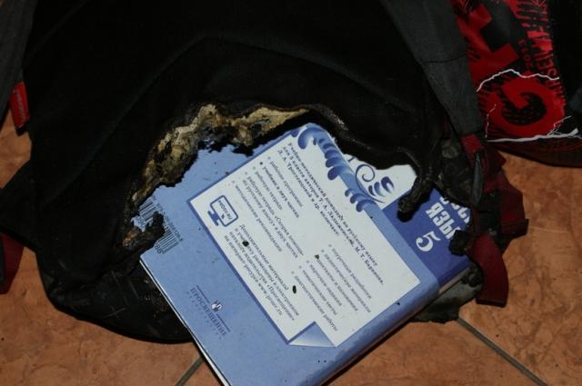 Огонь не успел перекинуться на мальчика: весь удар на себя принял рюкзак.