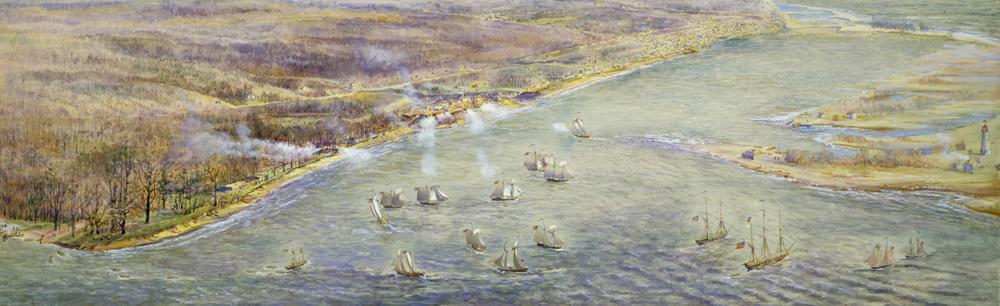 Прибытие американского флота до захвата Йорка 27 апреля 1813 года.