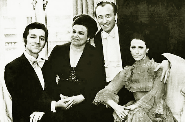1968 год. Ленинград. Слева направо: Ю. Темирканов, Л. Зыкина, Р. Щедрин и М. Плисецкая
