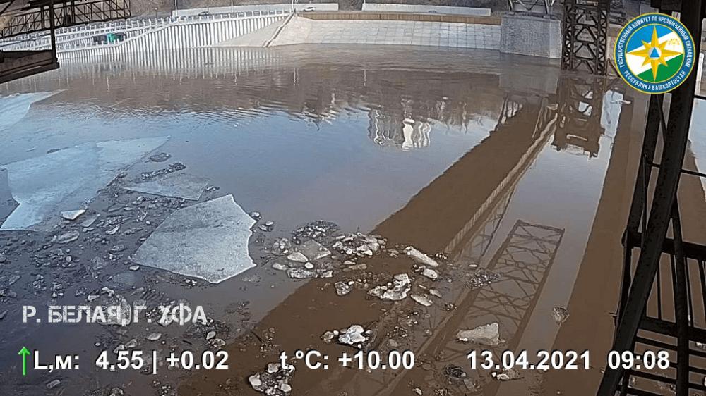 Подъём уровня воды возле новой набережной в Уфе