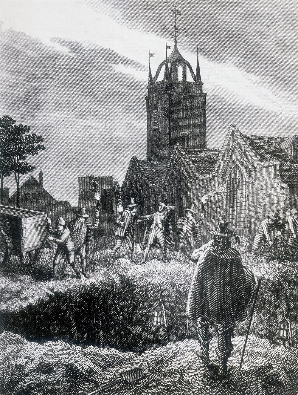 Гравюра (XIX век), изображающая группу мужчин с факелами на кладбище, готовящихся выгрузить содержимое крытой тележки в «Большую яму» в Олдгейте. Чума в Лондоне, 1665 г.