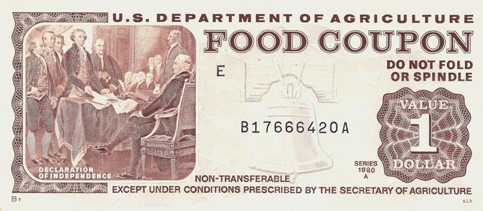 Так выглядели первые продовольственные талоны, которые бедным американцам на постоянной основе раздавали с 1961 г. Сейчас их сменили пластиковые карточки.