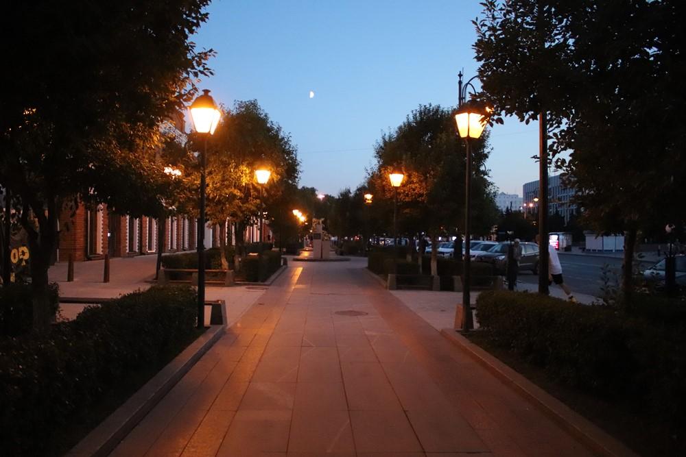 Сквер сибирских кошек находится в центре города. Вечером здесь очень уютно.