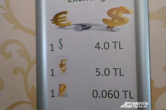 Обмен валюты в отеле. Курс для туриста невыгодный.
