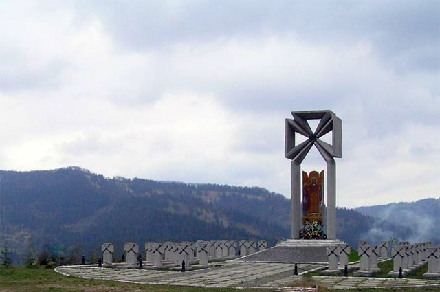 Могилы сечевых стрельцов на горе Маковка в Карпатах