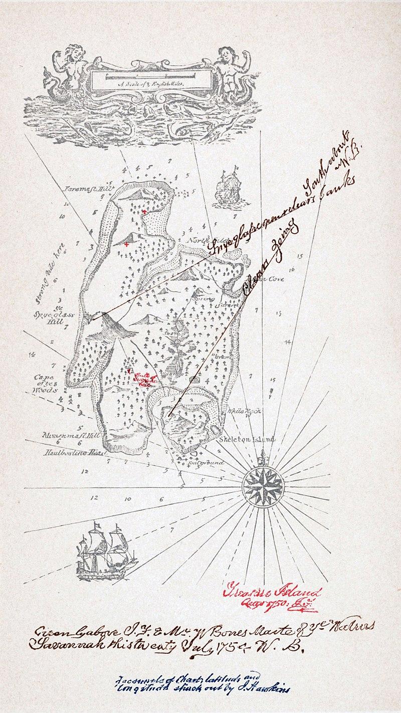 Карта острова сокровищ из первого немецкого . Приписывается Стивенсону.