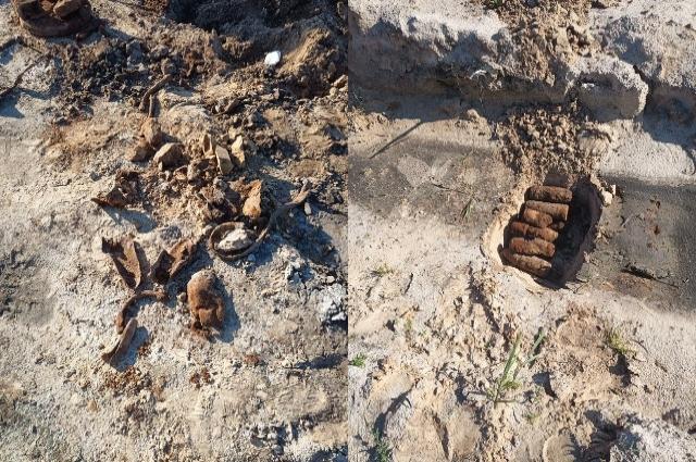 На поле обнаружены неразорвавшиеся снаряды и мины.