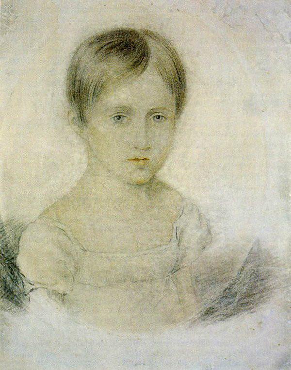 Наталья Николаевна Гончарова в детстве. Неизвестный художник. Начало 1820-х годов