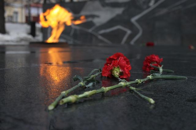 вечный огонь, гвоздики, памятник