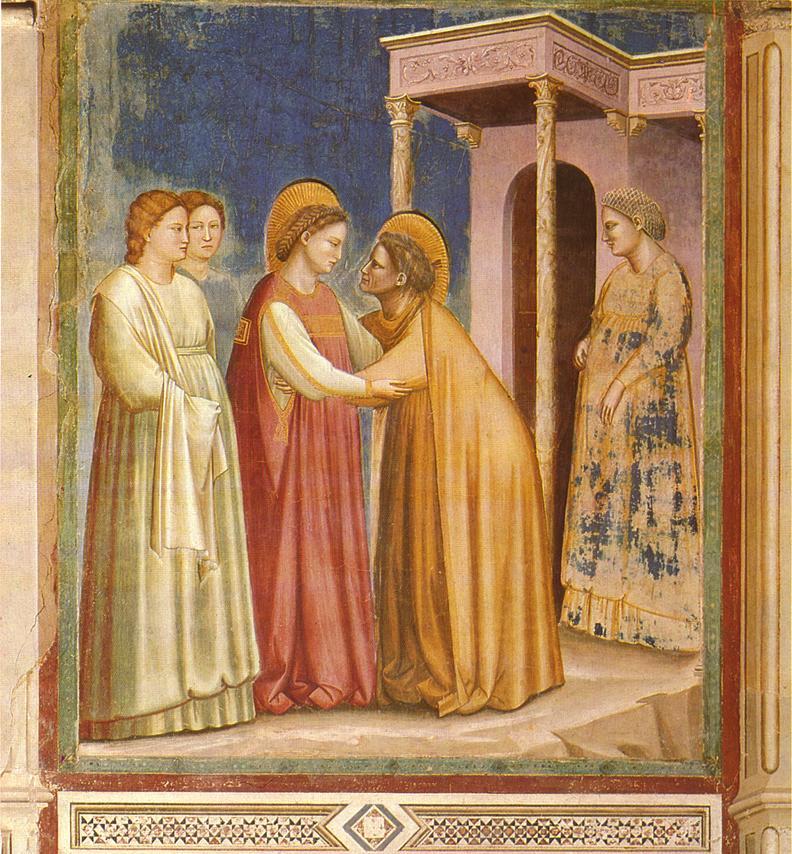 Фреска «Встреча Марии и Елизаветы». Капелла Скровеньи, Падуя. Первое десятилетие XIV века.