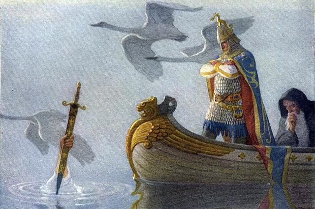 Артур получает меч Экскалибур от Леди Озера. Рисунок Н. К. Уайета, 1922 год.