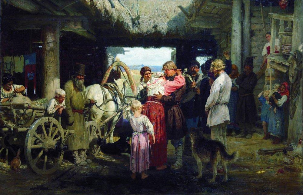 «Проводы новобранца.», художник И. Е. Репин, 1879 год.