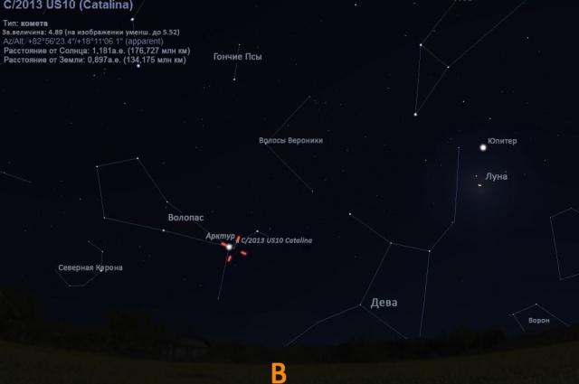Комета движется к Полярной звезде.