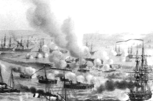 Плавучие батареи французов под Кинбурном в 1855 году.