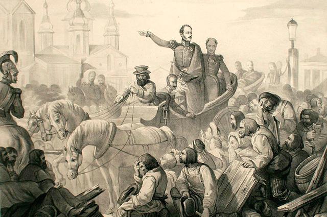 Николай I во время холерного бунта на Сенной площади.