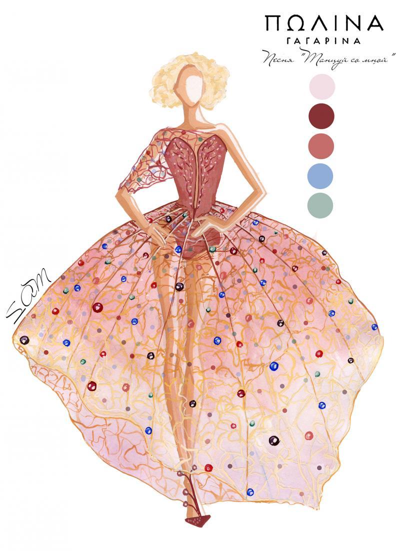 Эскиз платья для Полины Гагариной от самарчанки Анастасии Ситдиковой.